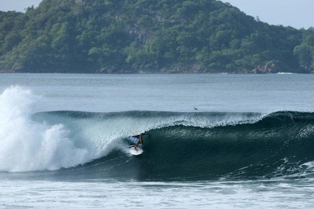 Argentina S Sebastian Galindo Navigates An Early Morning Aquamarine Barrel In Beautiful Nicaragua Just